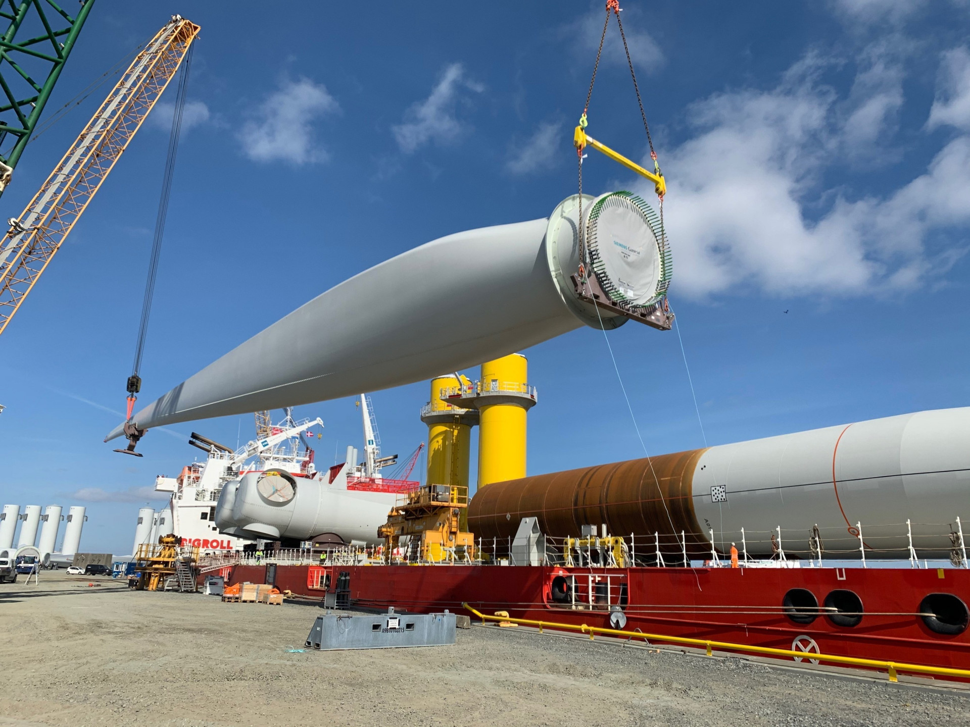 Parts for two pilot wind turbines are loaded in April at Rostock, Germany en route for Virginia Beach. Picture credit: Dominion Energy